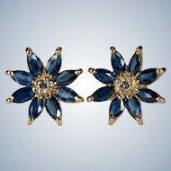 Sapphire Diamond Flower Studs 14k Plumb Gold Pierced Stud Earrings