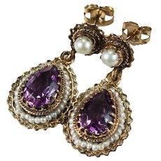 Victorian Amethyst Pearl Earrings 14k Gold Natural Amethyst Seed Pearl Dangle Earrings