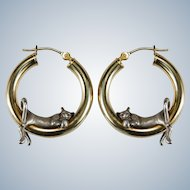 Hanging Kitten Hoop Earrings 14k Gold Hoop Sterling Cat Hoops Peter Brams Designs