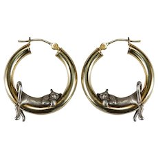 Hanging Kitten Hoop Earrings 14k Gold Hoop Sterling Cat Hoops