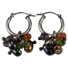 Mixed Gemstone Dangle Hoops 925 Sterling Silver Freshwater Pearl Amethyst Carnelian Peridot Earrings