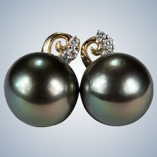 South Sea Tahitian Black Pearl Stud Earrings 14k Gold 11mm Pearl Diamond Studs