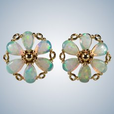 Natural Opal Flower Stud Earrings 14k Gold Pierced Opal Studs