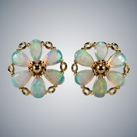 Natural Opal Pinwheel Studs 14k Pierced Stud Post Earrings