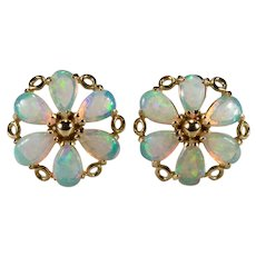 Opal Studs 14k Pierced Stud Post Earrings