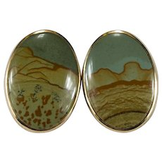 Natural Owyhee Jasper Earrings 14k Gold Picture Jasper Disc Pierced Studs