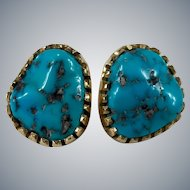 Native American Hopi Signed Natural Turquoise 14k Gold Pierced Stud Earrings