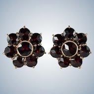 Bohemian Garnet Flower Stud Earrings 14k Gold Pierced Screw Back Garnet Studs