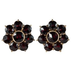 Bohemian Garnet Flower Stud Earrings 14k Gold Pierced Screw Back Garnet Studs