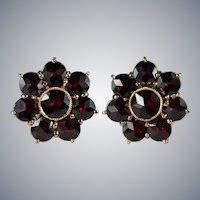Bohemian Garnet Studs 14k Pierced Screw Back Stud Post Earrings