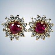 Ruby Diamond Earrings 14k Gold Diamond Halo Ruby Studs Mixed Gemstone Stud Earrings