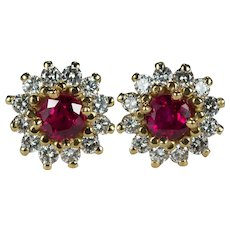 Ruby Diamond Earrings 14k Gold Diamond Halo Ruby Studs Mixed Gemstone Stud Earrings