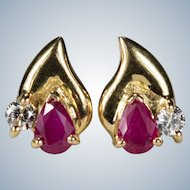Ruby Diamond Stud Earrings 18k Gold Mixed Gemstone Studs