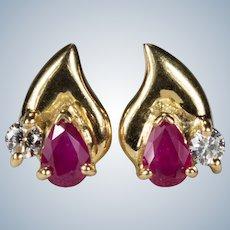 Ruby Diamond Stud Earrings 18k Gold Mixed Gemstone Studs