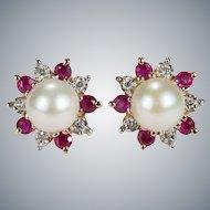Ruby Diamond Pearl Earrings 14k Gold Cultured Pearl Ruby Diamond Halo Studs