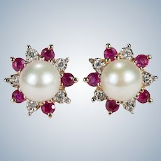 Ruby Diamond Pearl Earrings 14k Gold Cultured Pearl Ruby Diamond Halo Studs