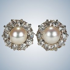 Antique Edwardian Pearl Diamond Platinum Earrings 2ctw Old European Cut Old Mine Cut Halo Studs