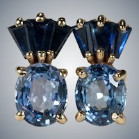 Mixed Sapphire Studs 14k Stud Pierced Post Earrings