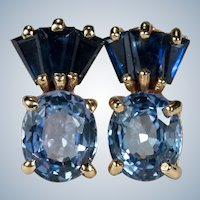 Mixed Sapphire Studs 14k Stud Pierced Post Earrings