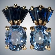 Mixed Ceylon Sapphire 14k Stud Earrings