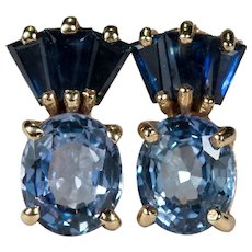 Mixed Ceylon Sapphire 14k Stud Earrings