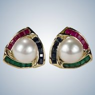 Ruby Emerald Sapphire Pearl Earrings 14k Gold Cultured Akoya Pearl Pierced Omega Back Earrings