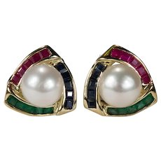 Ruby Emerald Sapphire Pearl Studs 14k Pierced Omega Back Post Earrings