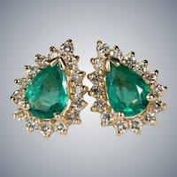 Emerald Diamond Studs 14k Pierced Post Earrings
