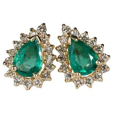 Emerald Diamond Studs 14k Pierced Post Earrings