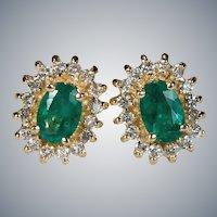 Emerald Diamond Halo Stud Earrings 14k Gold Pierced Studs