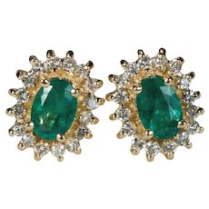 Emerald Diamond Halo Stud Earrings 14k Gold Pierced Studs