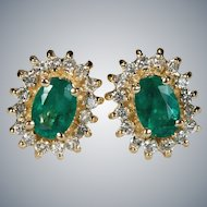 Emerald Diamond Stud Earrings 14k Gold Natural Emerald Diamond Halo Studs