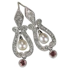 Pink Tourmaline Diamond Pearl Earrings 14k Gold Mixed Gemstone Lyre Drop Earrings