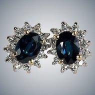 Sapphire Diamond Stud Earrings 1.50ctw 14k Gold Pierced Studs Genuine Sapphire Diamond Halo