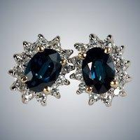 Sapphire Diamond Studs 14k Pierced Studs Post Earrings