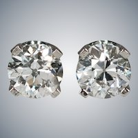 Old European Cut Diamond Stud Post Earrings .66ctw 14k White Gold Old Mine Cut