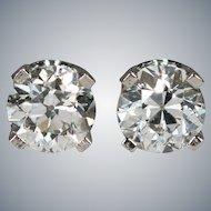 Natural Old European Cut Diamond Earrings .66ctw 14k White Gold Old Mine Cut Diamond Studs Stud Earrings