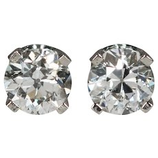 Natural Old European Cut Diamond Earrings .66ctw 14k White Gold Old Mine Cut Diamond Studs Stud Earrings
