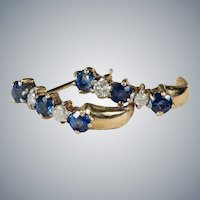 Sapphire Diamond Earrings 14k Half Hoop Huggie Pierced Post
