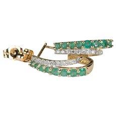 Emerald Diamond Earrings 14k Half Hoop Pierced Post