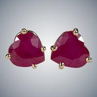Solitaire Heart Ruby Stud Earrings 1.20ctw 14k Gold Pierced Post Studs