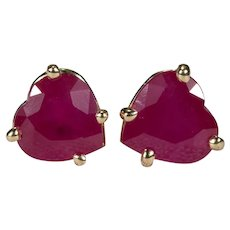 Solitaire Heart Ruby Stud Earrings 1.20ctw 14k Gold Pierced Post Studs