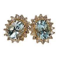 Natural Aquamarine Diamond Halo Stud Earrings 1.85ctw 14k Pierced Post