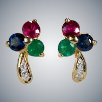Diamond Ruby Sapphire Emerald Shamrock Studs 18k Pierced Post Stud Earrings