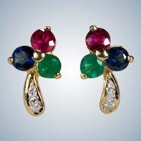 Diamond Ruby Sapphire Emerald Shamrock Studs 18k Pierced Post Stud Earrings