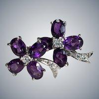 Purple Amethyst Diamond Clover Earrings 14k Screw Back Clamp