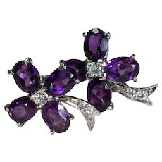 Purple Amethyst Diamond Clover Earrings 14k Screw Back Clamp