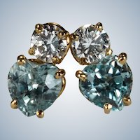 Natural Aquamarine Heart Diamond Stud Earrings 14k 1.37ctw Pierced Post Studs