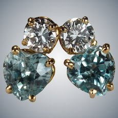 Natural Aquamarine Heart Diamond Stud Earrings 14k 1.37ctw Pierced Post Studs