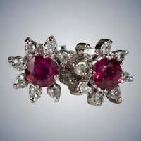 Genuine Ruby Diamond Halo Stud Earrings 14k Pierced Post Studs